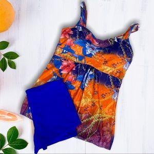 Orange & Blue Floral Tankini & Shorts Large NEW